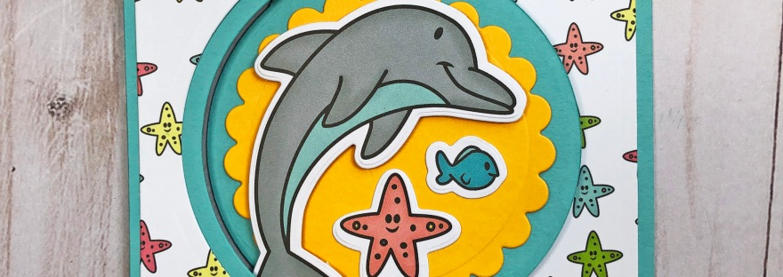 The Stamps of Life Dolphins2Stamp Flip-It Card