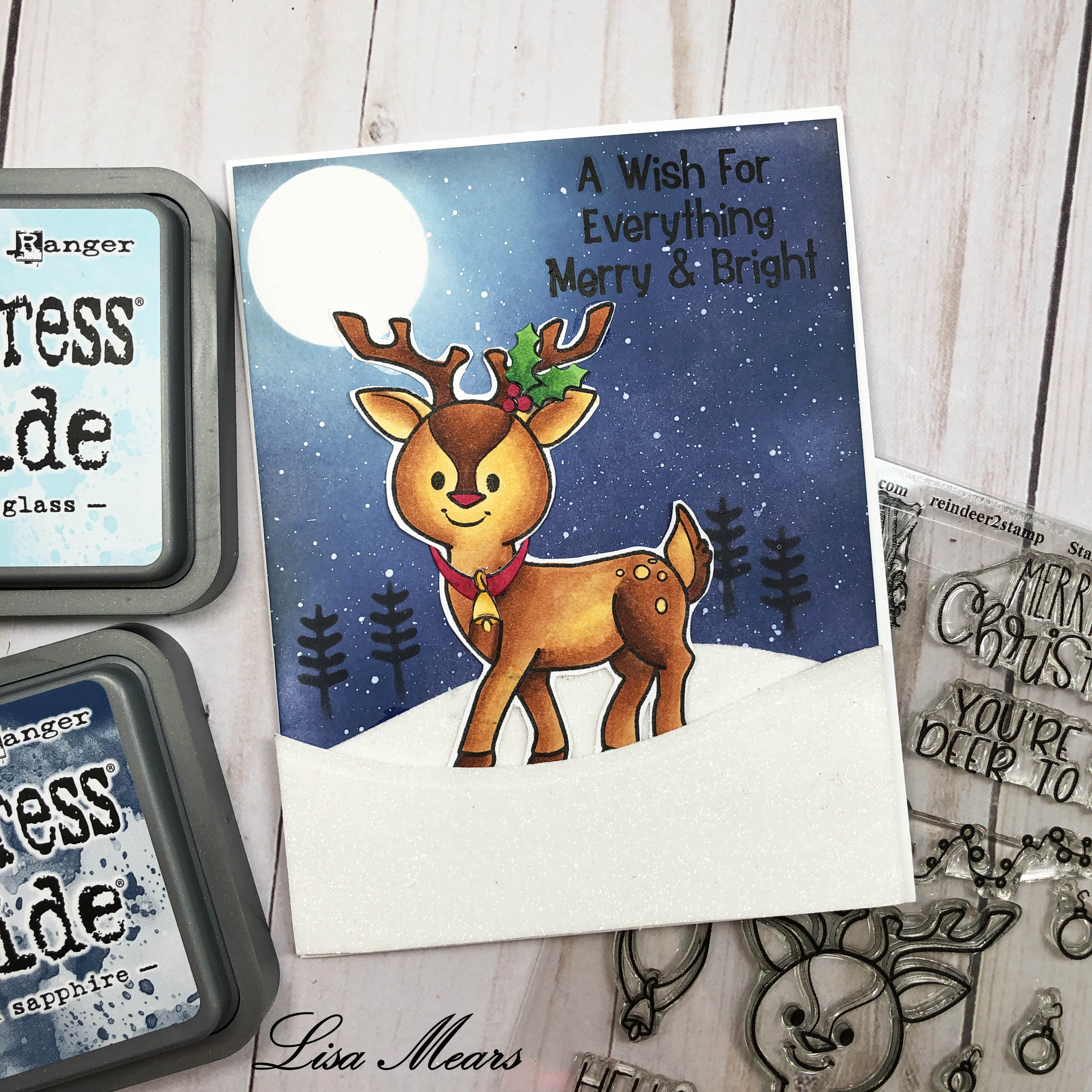 The Stamps of Life Reindeer2Stamp with Distressed Background