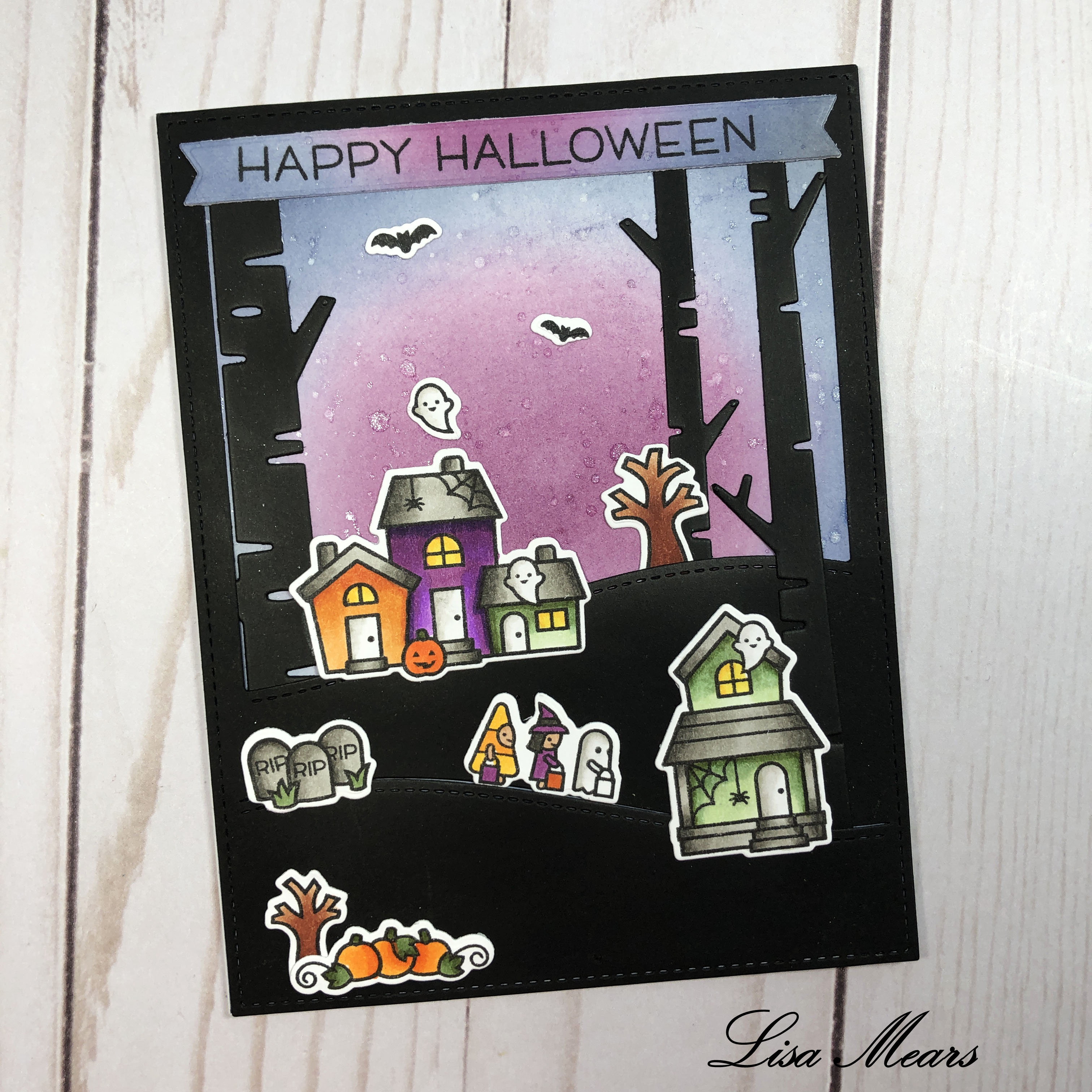 Lawn Fawn Spooky Village Card