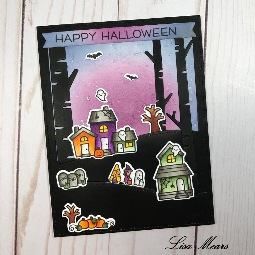 Lawn Fawn Spooky Village Card