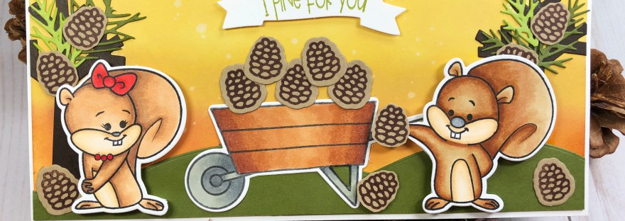 Fall Slimline Card Using Squirrels2Love, Pinecones2Stamp, and Wheelbarrow2Stamp from The Stamps of Life