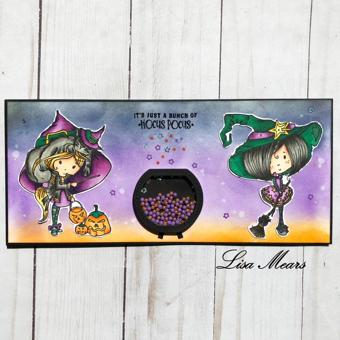 Polkadoodles Halloween Card using Winnie Broomstick and Winnie Magic Stamps