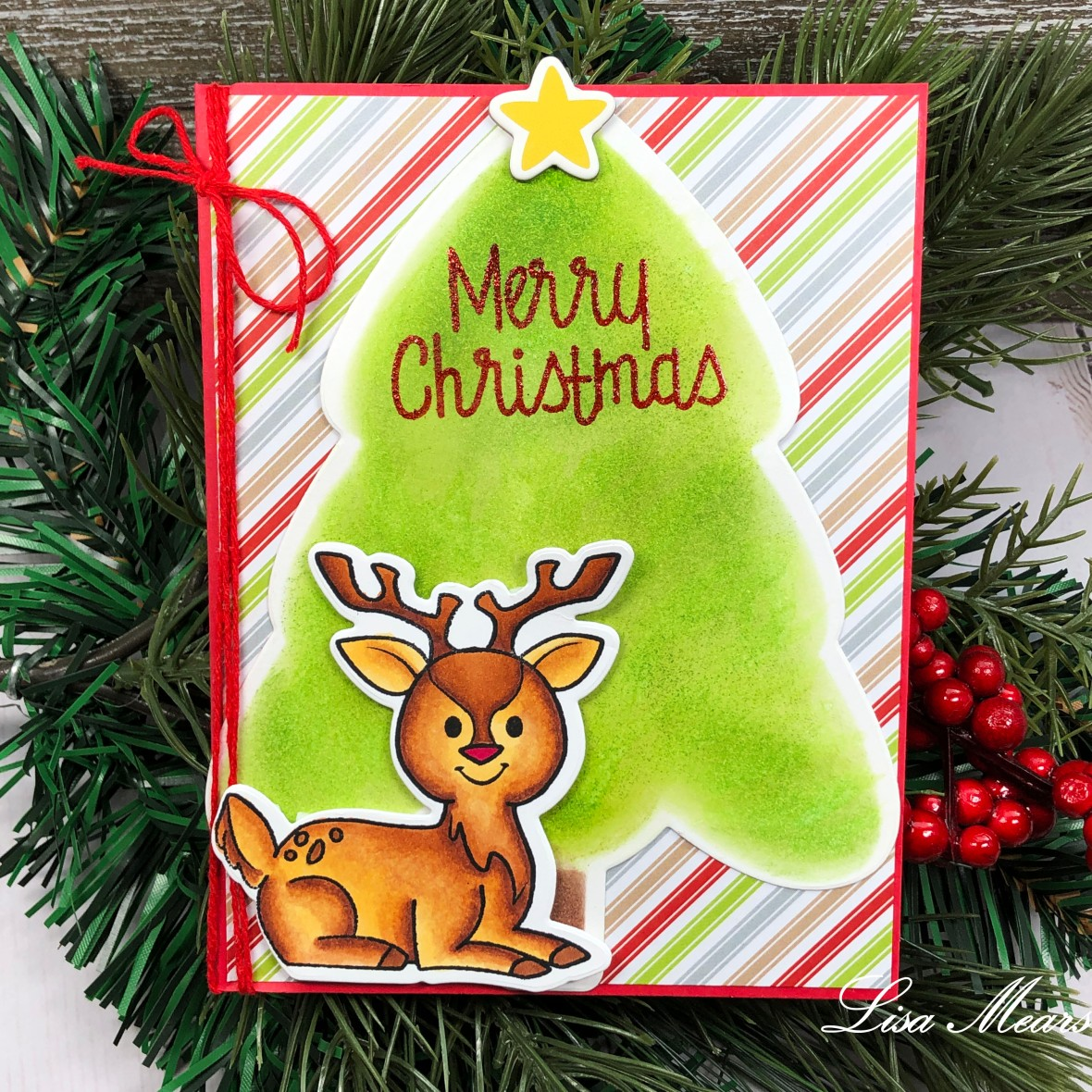 The Stamps of Life Christmas Tree Fold-it Ink Blended Christmas Tree with reindeer