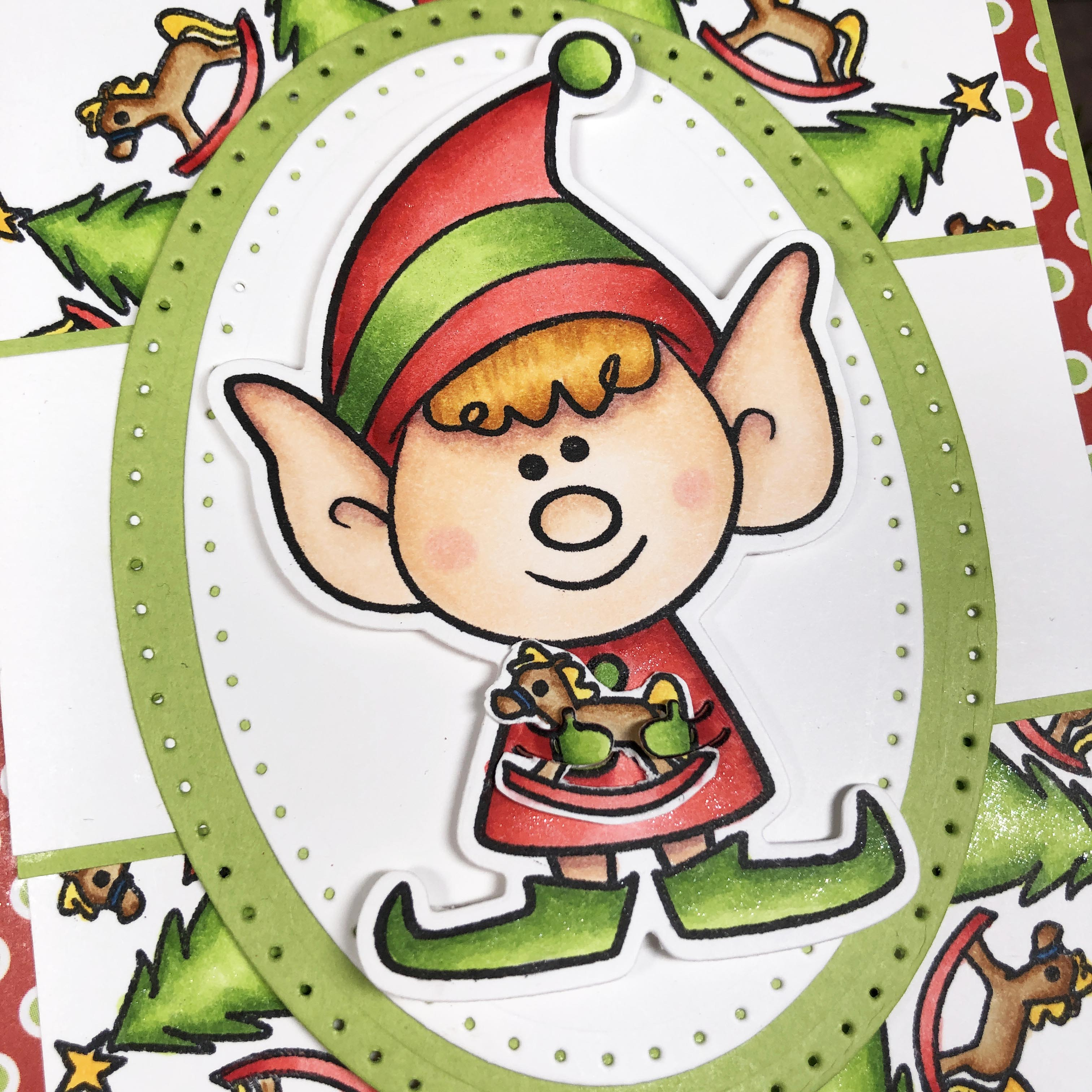 Elves2StampChristmas Card Using Wreath Builder