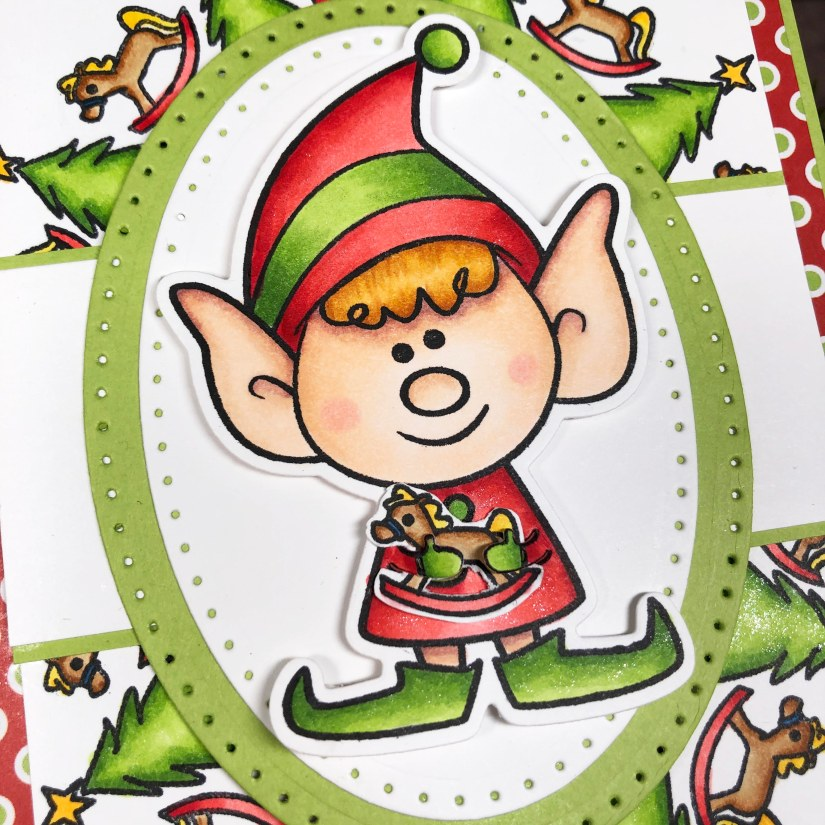 Elves2StampChristmas Card Using Wreath Builder