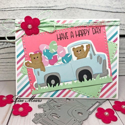Easter Card using Valentine Truck with Bear Dies