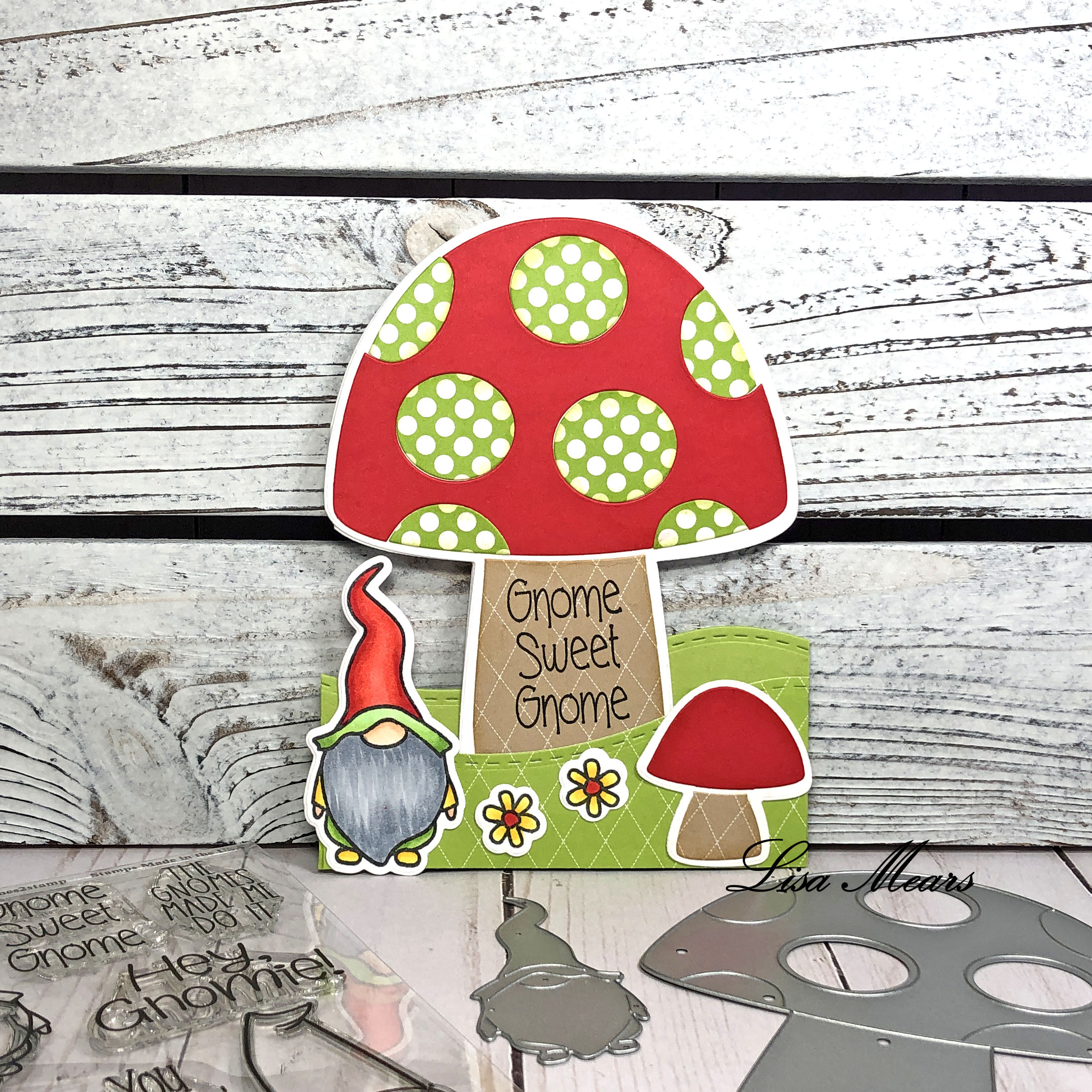 Mushroom Shaped Card with Gnome