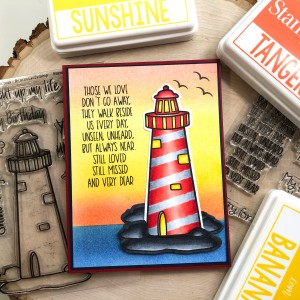 Sympathy Card with Lighthouse and Ink-blended background