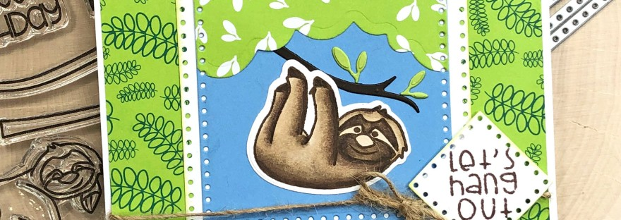 Sloth Card with Dotted Square Dies