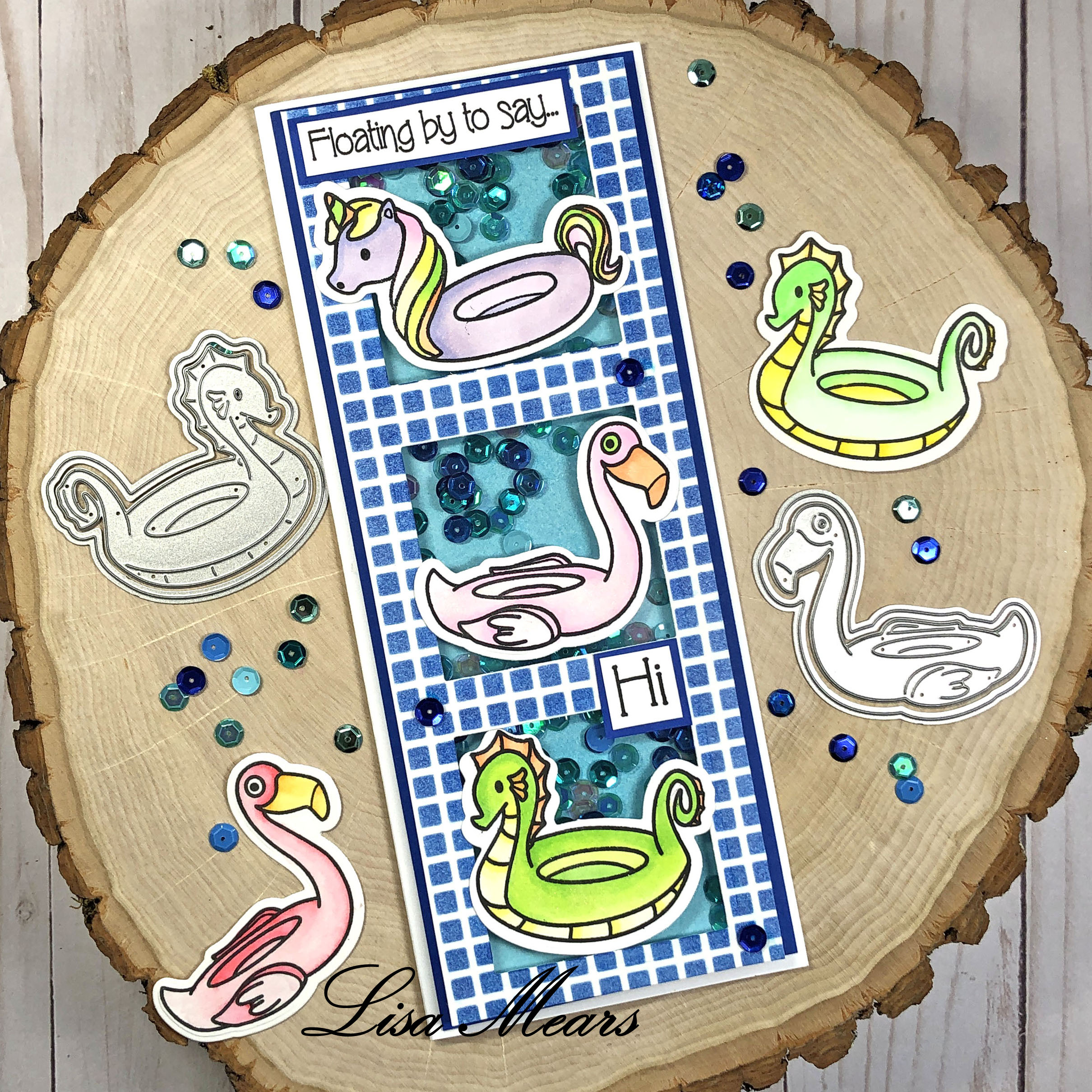 Slimline Shaker Card using Floaties2Stamp