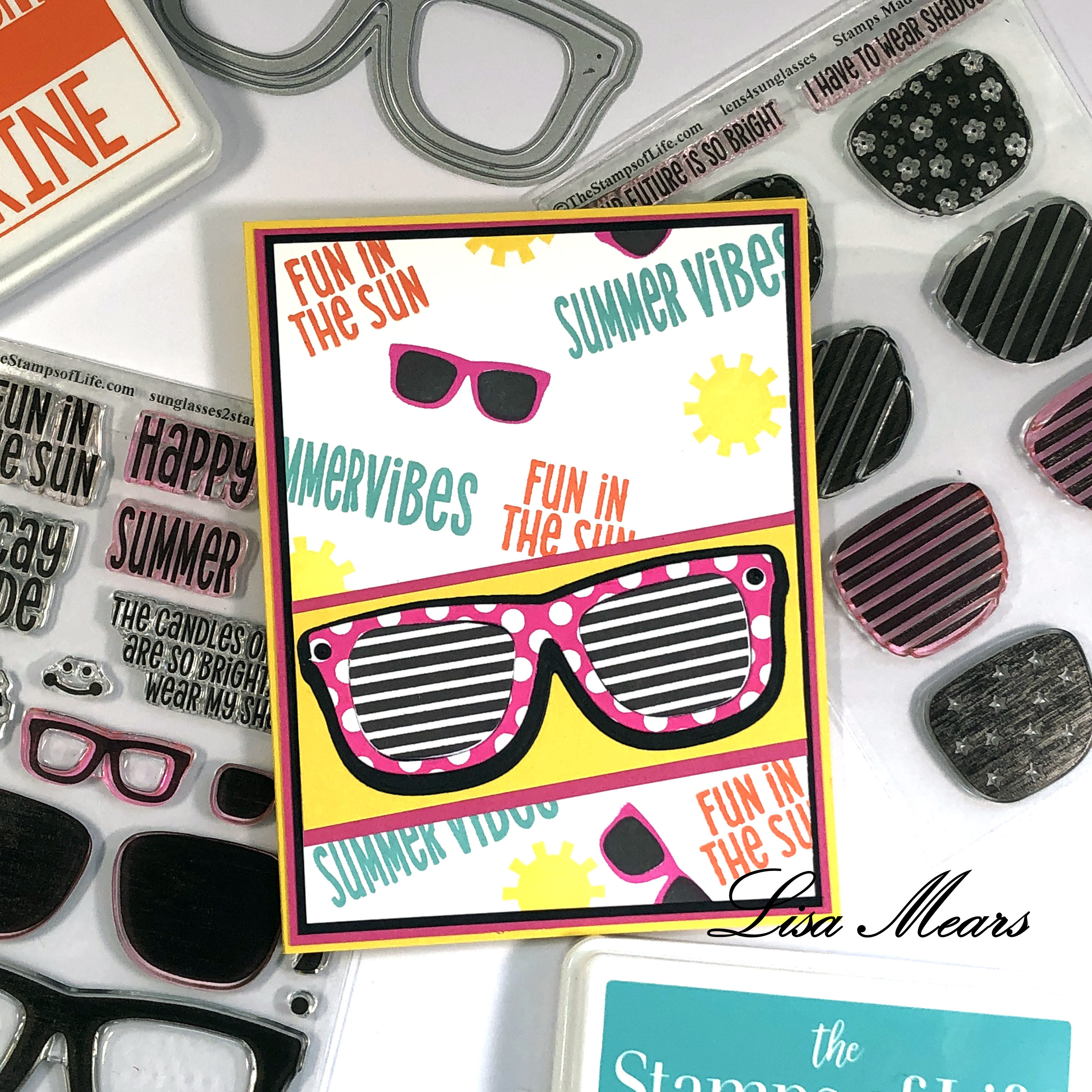 Sunglasses Card with Stamped Background