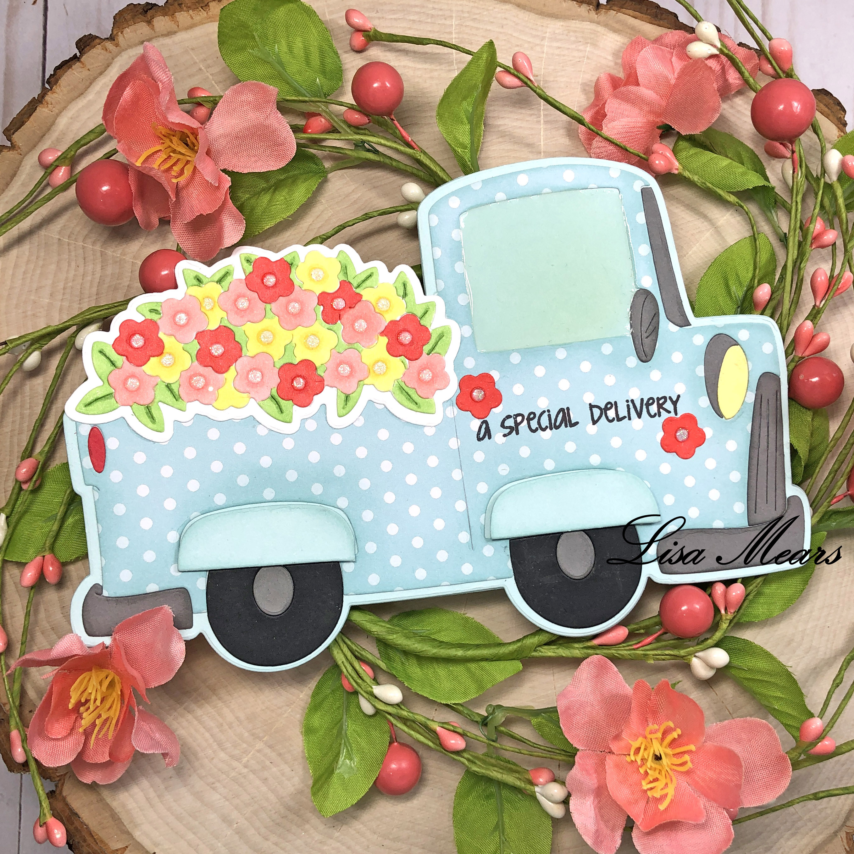 Pick up Truck Card Spring Theme