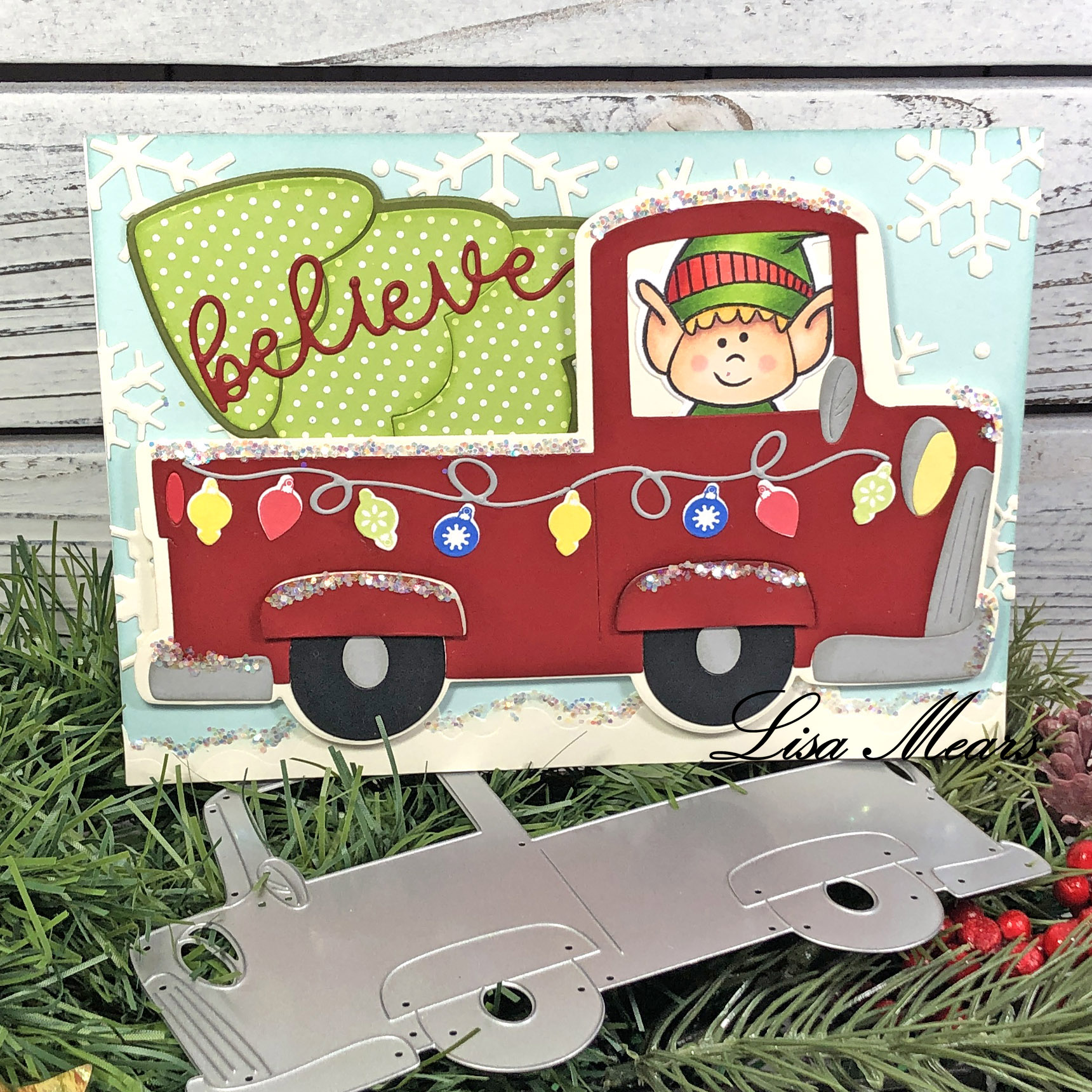 Christmas Old-fashioned pick-up truck card