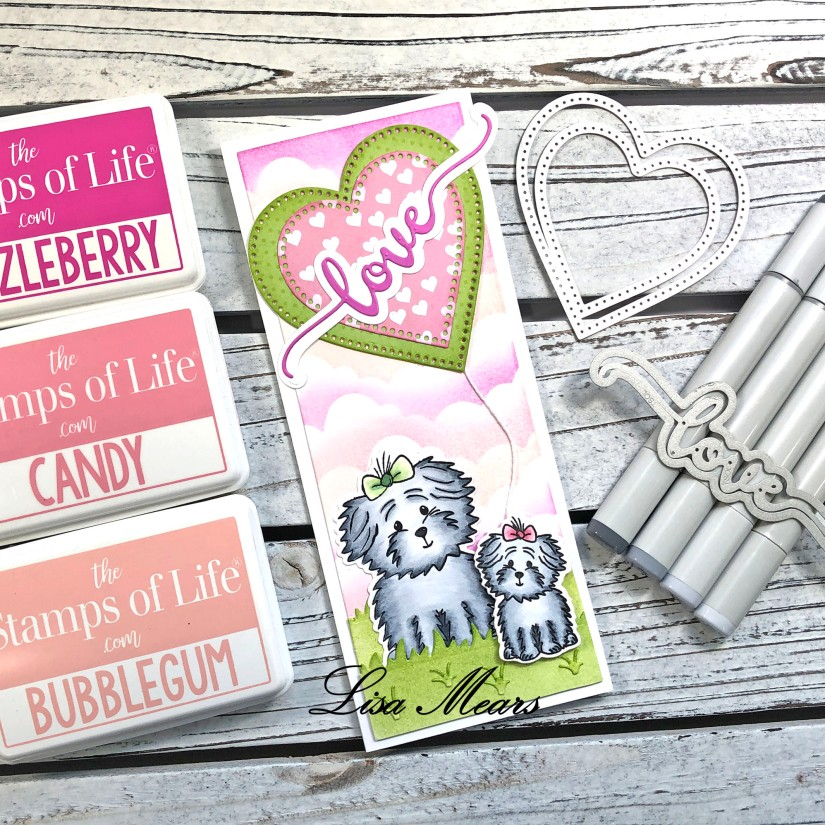 Slimline Card with Love Add-on Word Die Set
