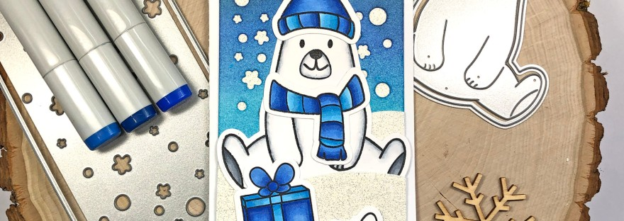 Winter Slimline Card with Polar Bear