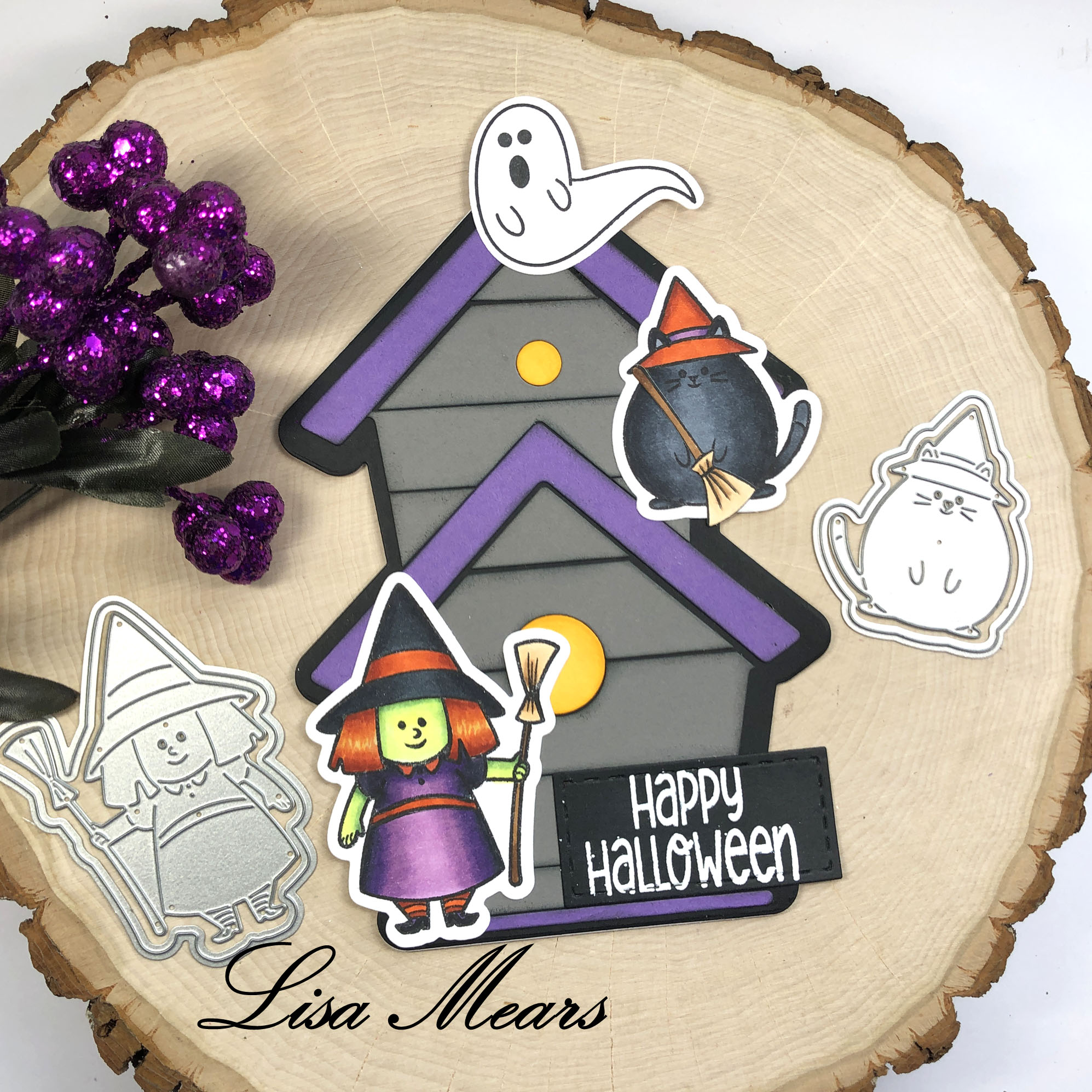 Haunted House Card with Witch and Cat Stamps