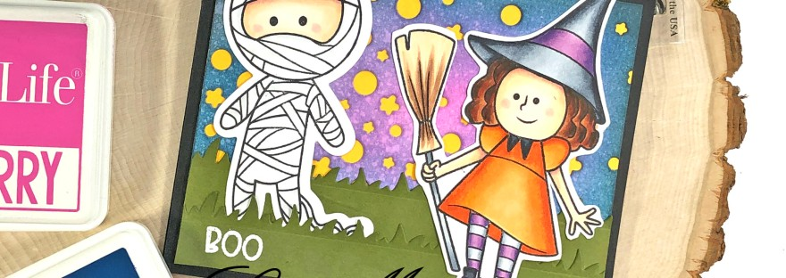 Halloween Card with Witch and Mummy