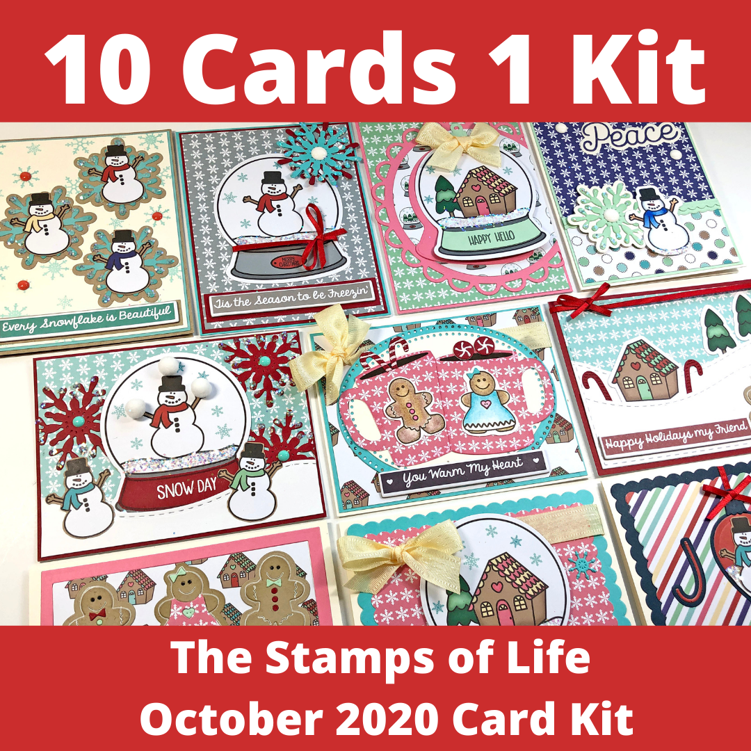 The Stamps of Life October Card Kit - 10 Cards 1 Kit - Snow Globe Cards