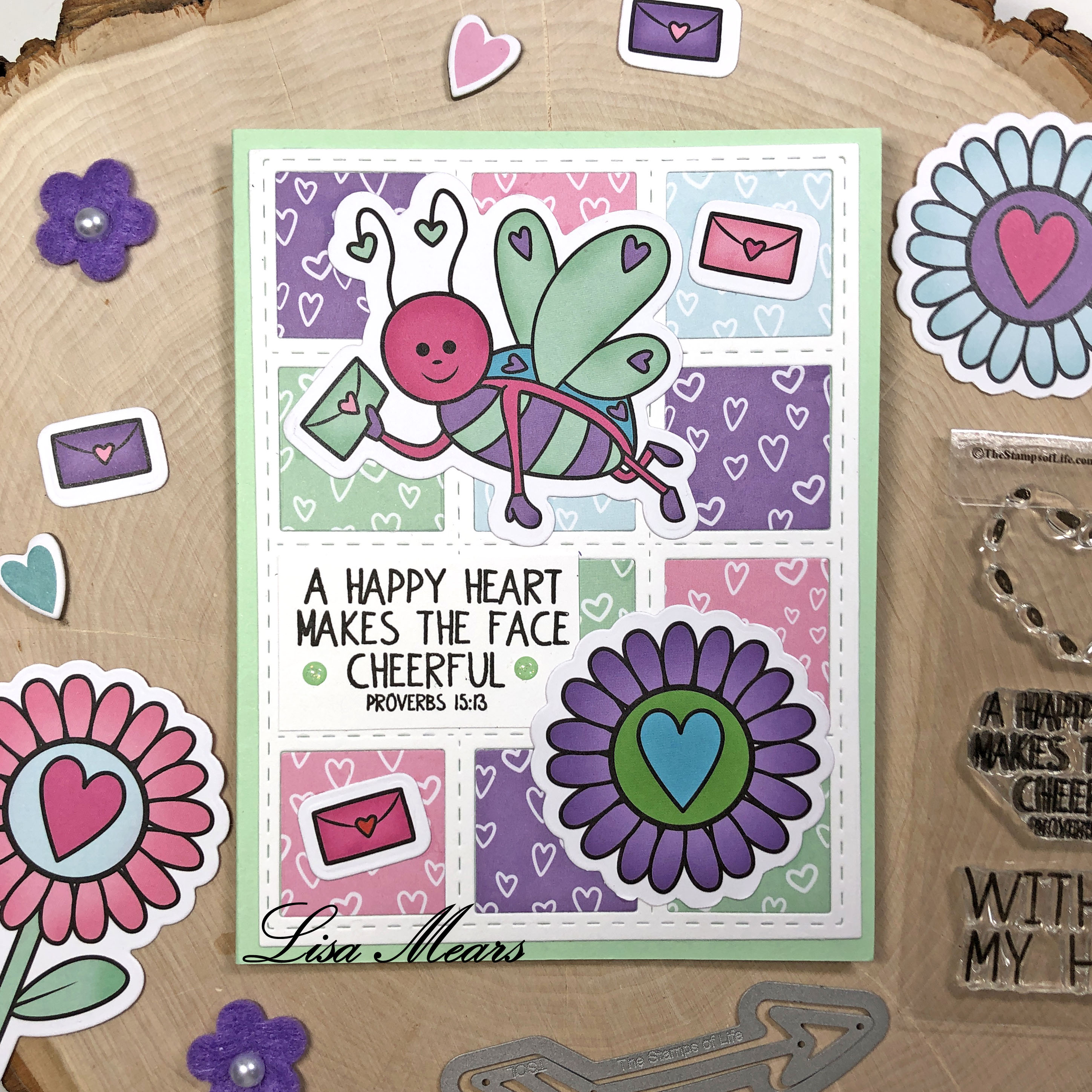 The Stamps of Life December 2020 Card Kit - Love Bugs - 15 Cards 1 Kit - Card 15