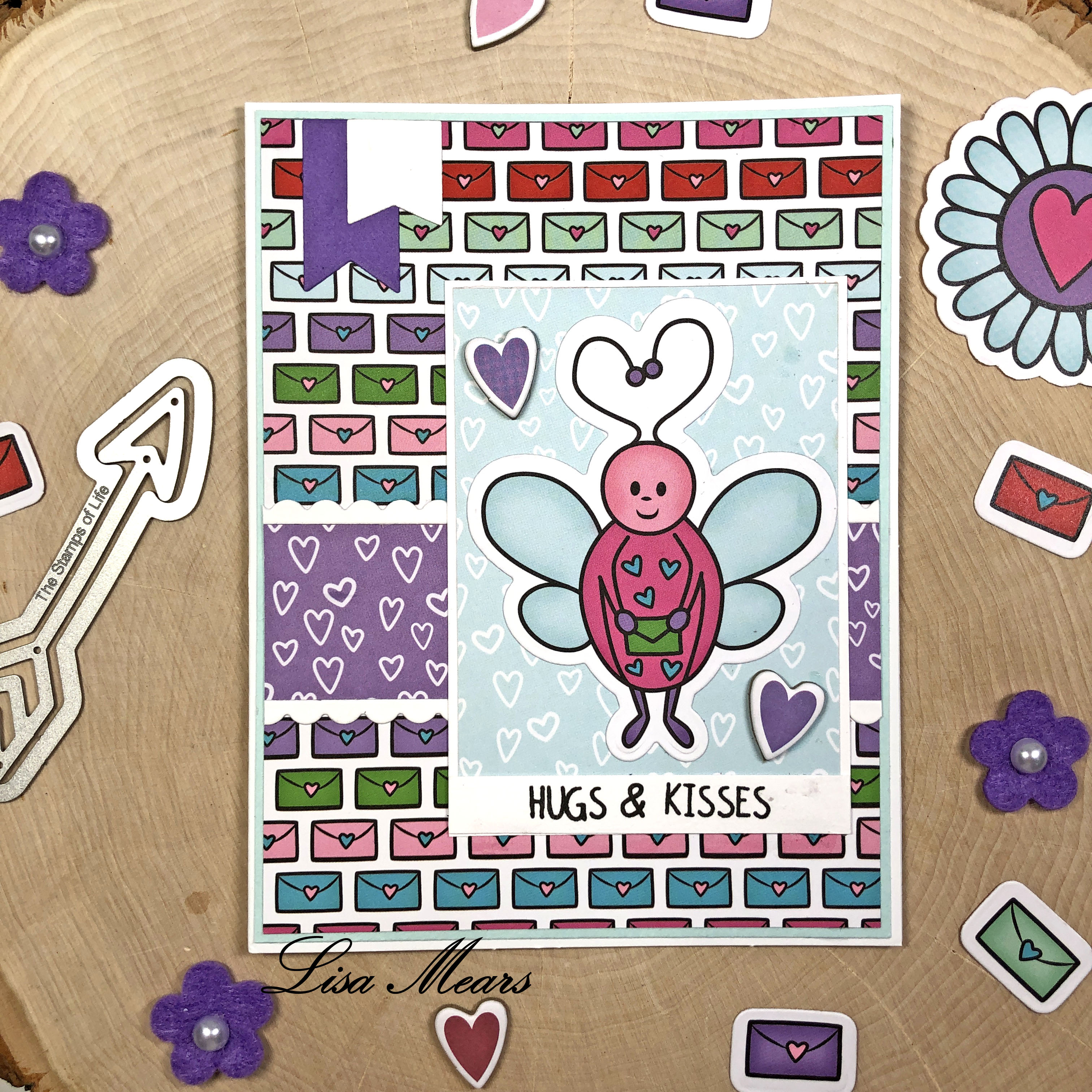 The Stamps of Life December 2020 Card Kit - Love Bugs - 15 Cards 1 Kit - Card 7