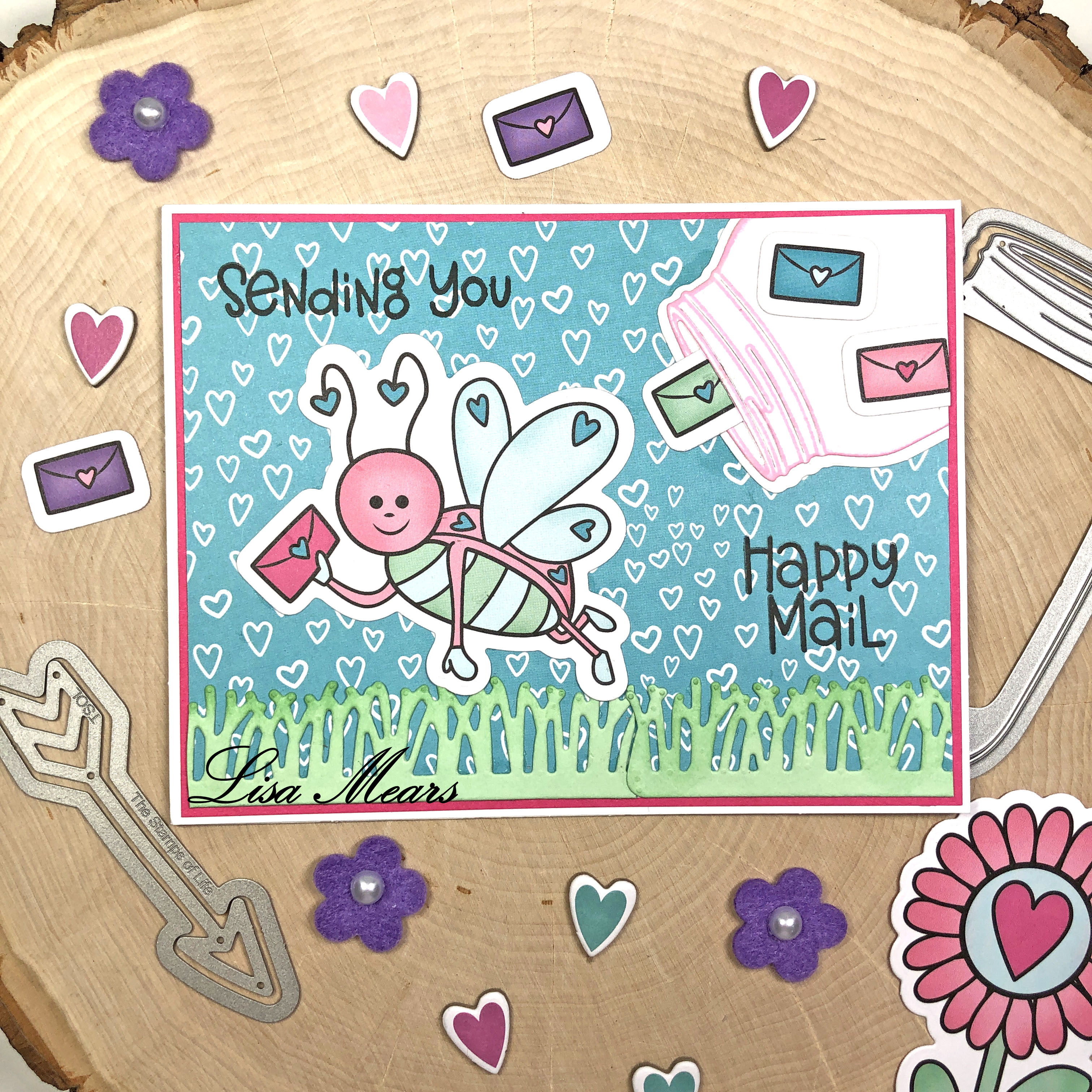 The Stamps of Life December 2020 Card Kit - Love Bugs - 15 Cards 1 Kit - Card 1