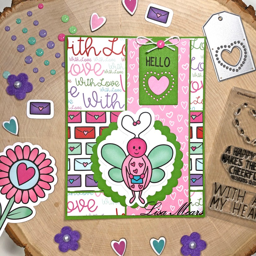 The Stamps of Life December 2020 Card Kit - Love Bugs - 15 Cards 1 Kit - Card 8