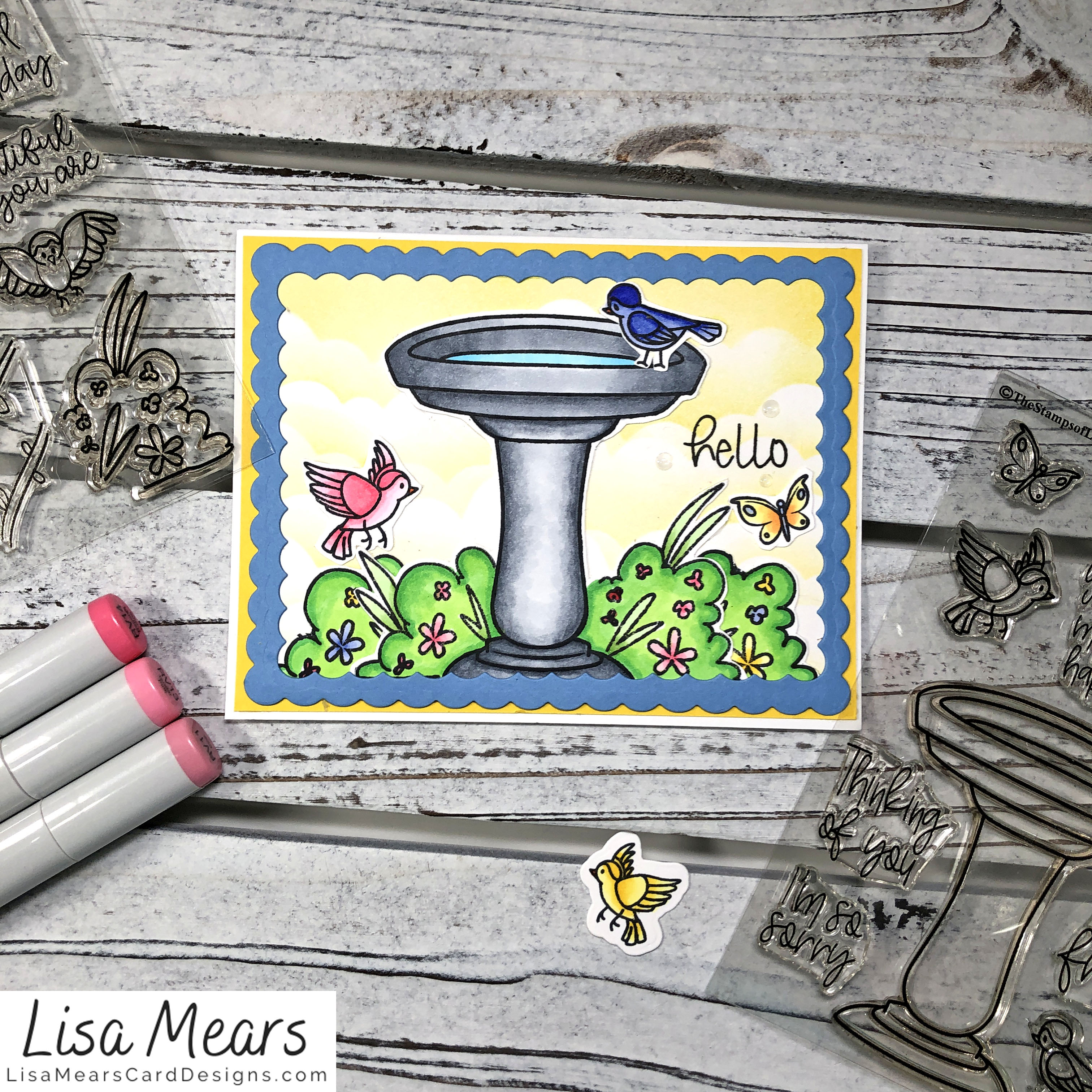 Birdbath Card - The Stamps of Life