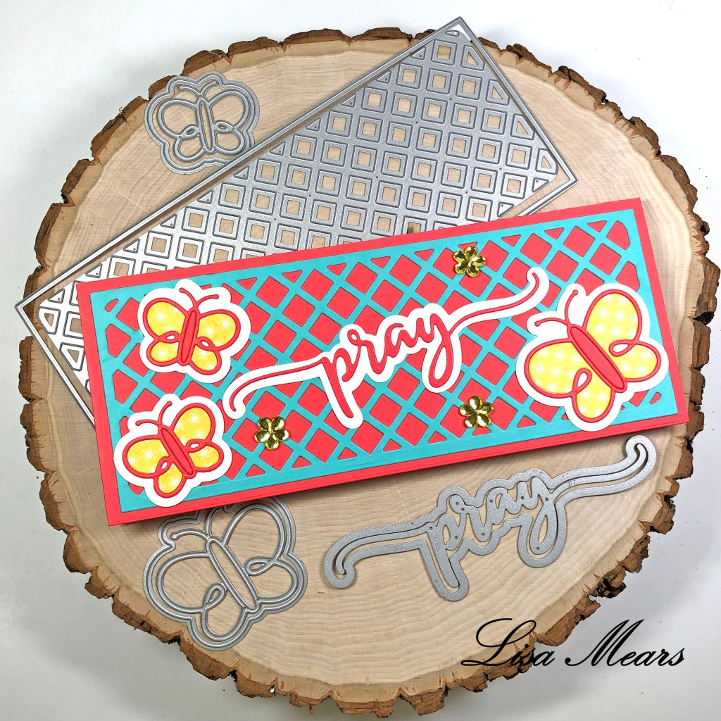 Slimline Card with Lattice Background and butterflies