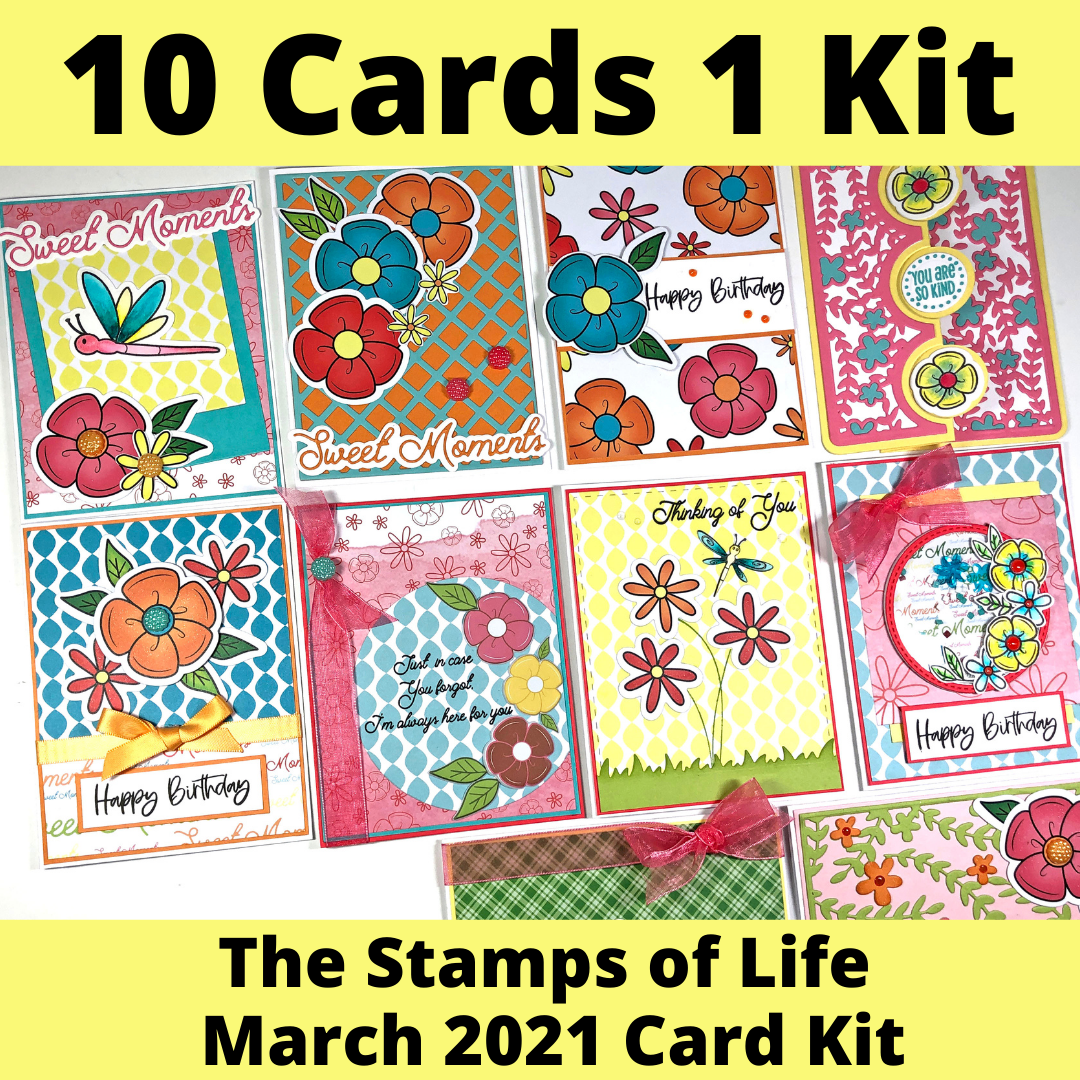 10 Cards 1 Kit - The Stamps of Life March 2021 Card Kit