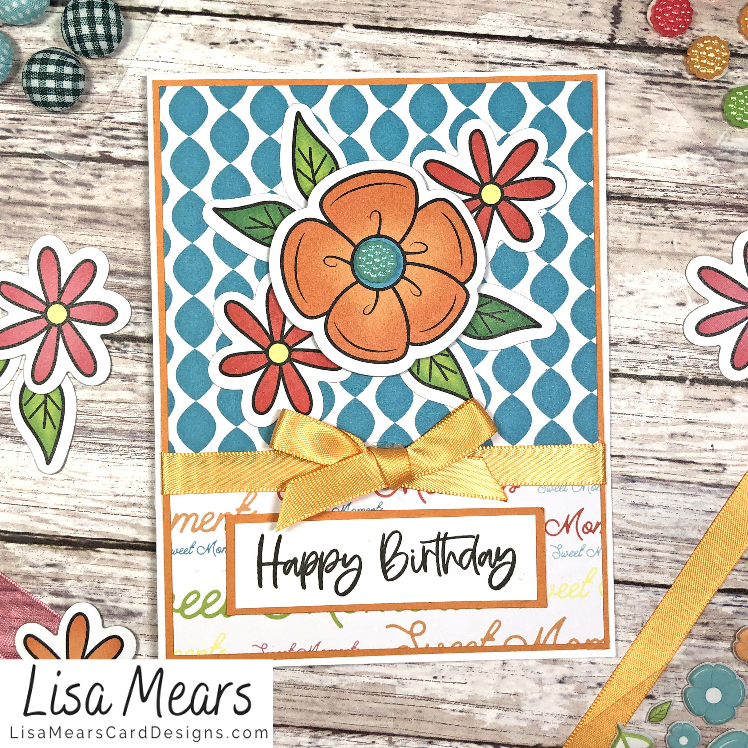 The Stamps of Life March 2021 Card Kit - Flower Card - Card 8