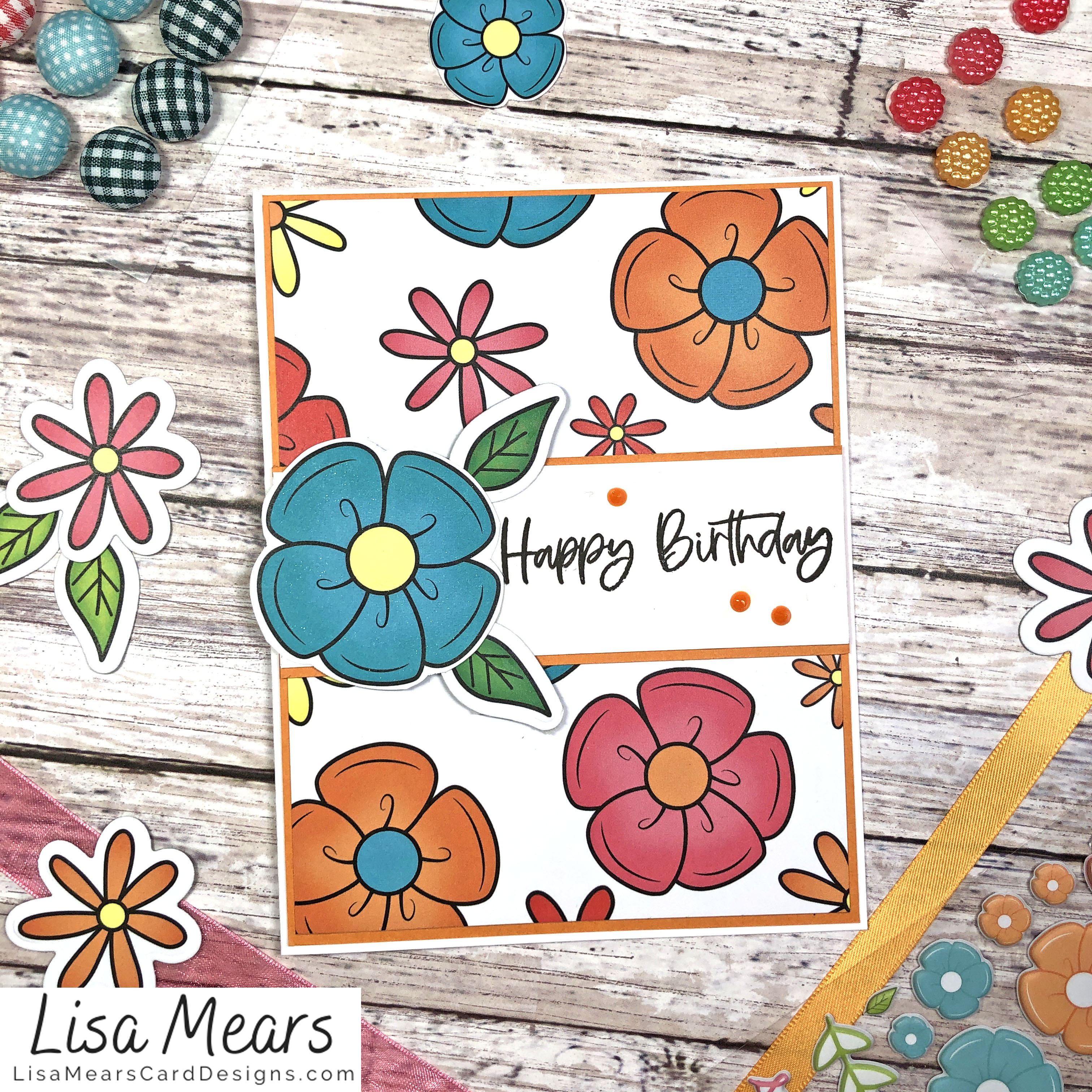 The Stamps of Life March 2021 Card Kit - Flower Card - Card 2