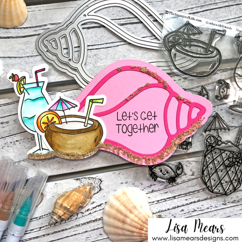 Drinks with Friends - Shell Shaped Handmade Card - The Stamps of Life