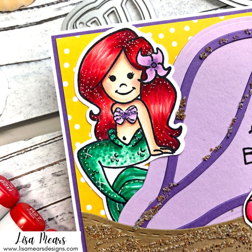 Drinks with Friends - Beach Themed Handmade Card  with Mermaid- The Stamps of Life