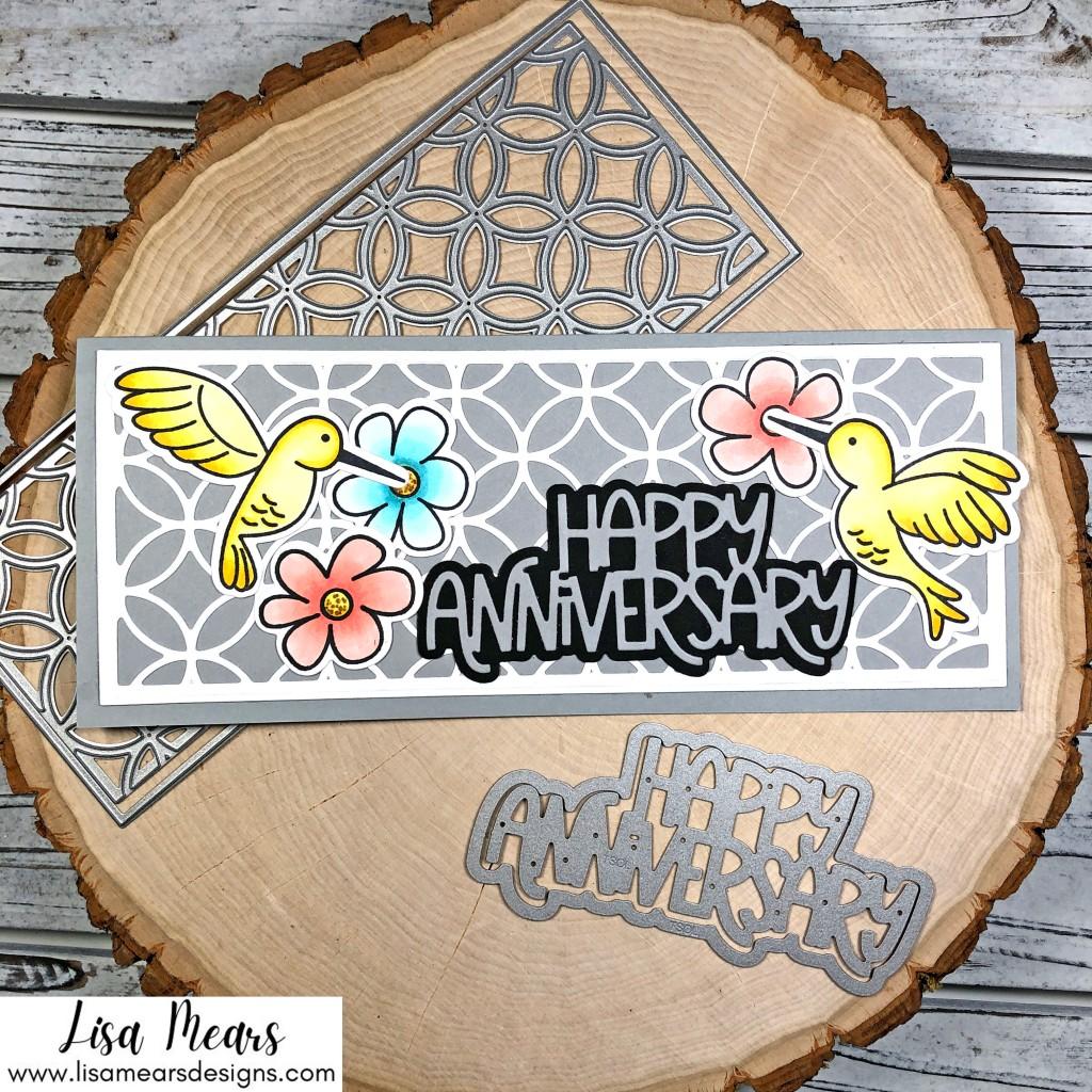Wedding Ring Slimline Panel Card with Happy Anniversary