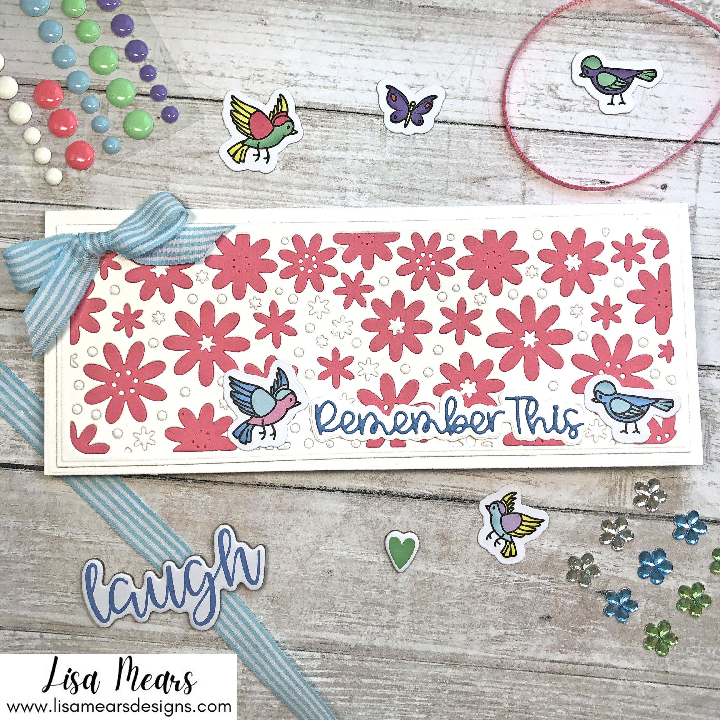 Handmade Sympathy Card with Birdbath and Lattice Background