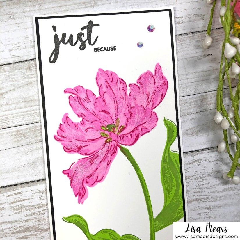 Slimline Card Using Altenew's Blooming Tulips Stamp Set