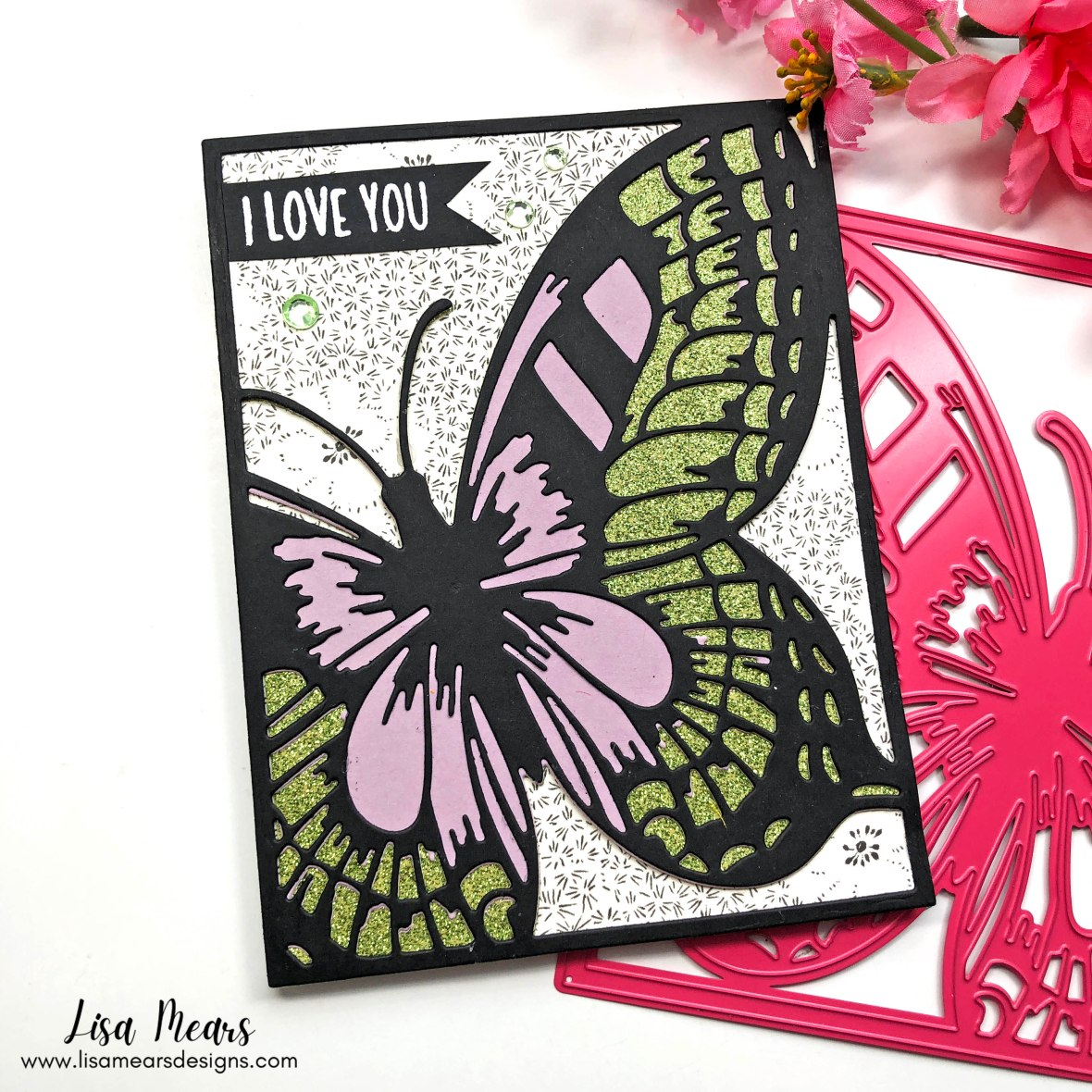 Butterfly Card - Pink and Main - Bold Butterfly Cover Die