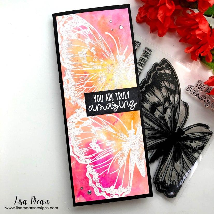 Butterfly Slimline Card - Pink and Main - Dearest Friend