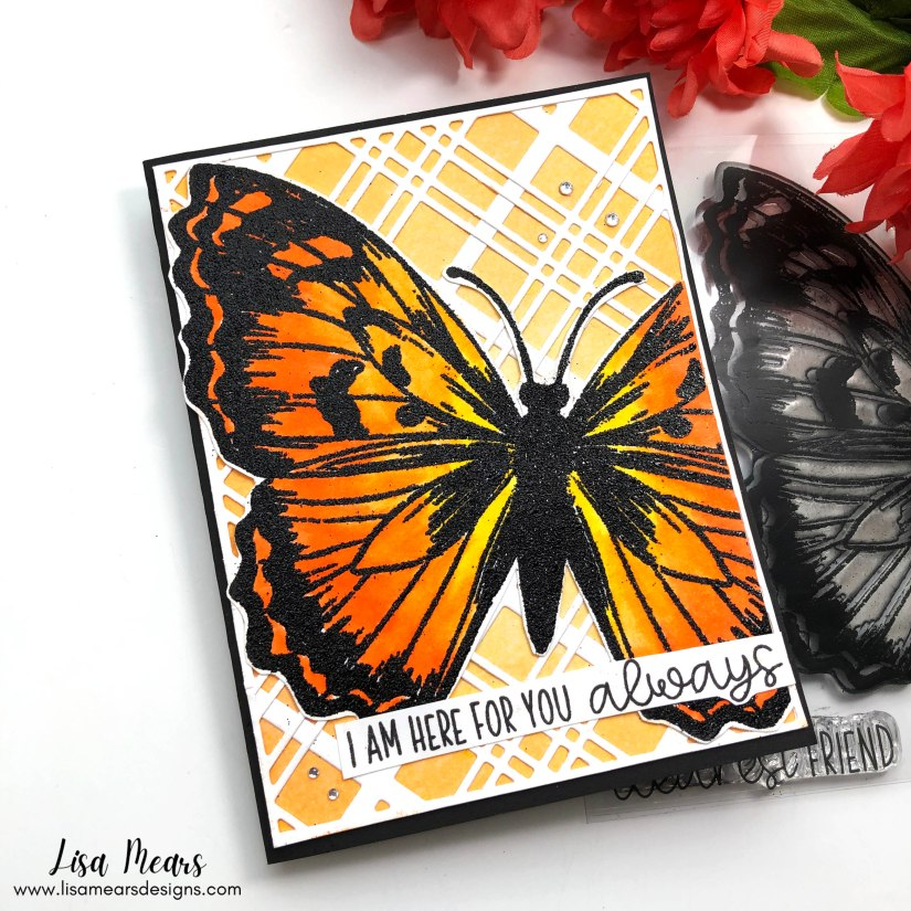 Butterfly Card - Pink and Main - Dearest Friend Stamp & Plaid Cover Dies