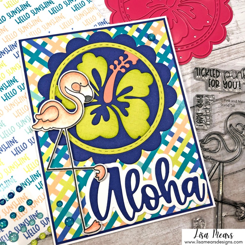 Pink and Main June 2021 Release Aloha - Handmade card with flamingo and flower