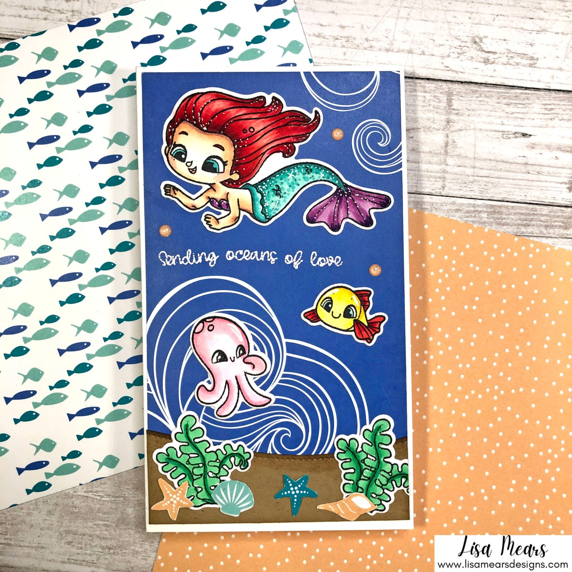 Under the Sea Mini Slimline Card - Be a Mermaid - Pink and Main