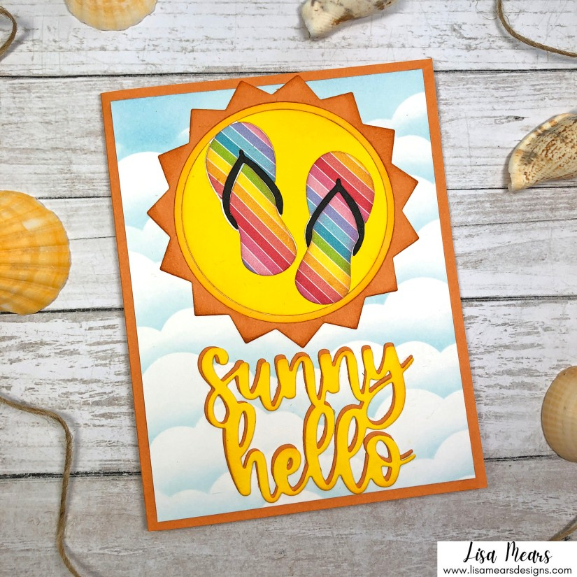 Pink and Main June 2021 Release - Sunny Hello Handmade Card - Handmade card with sun and flip flops