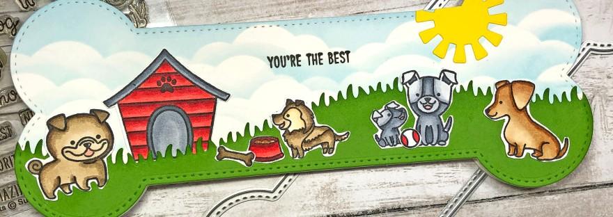 Dog Bone Slimline Card using Whimsy Stamps Slimline Dog Bone Die Set and Sunny Studio Puppy Parents Stamp Set