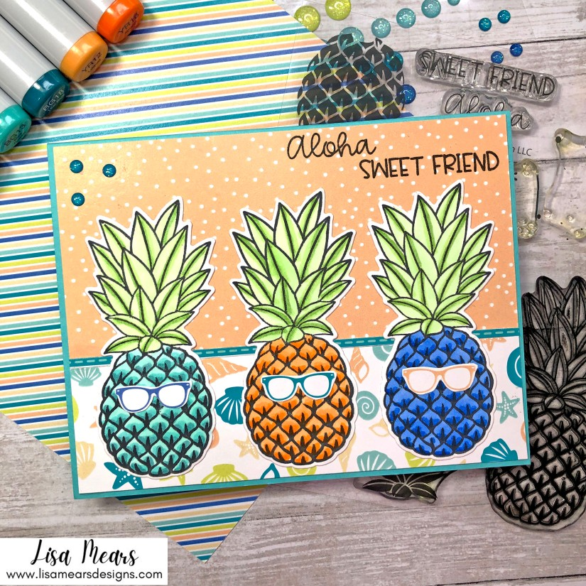 Pink and Main Sweet Friend Stamp Set - Pineapple Card
