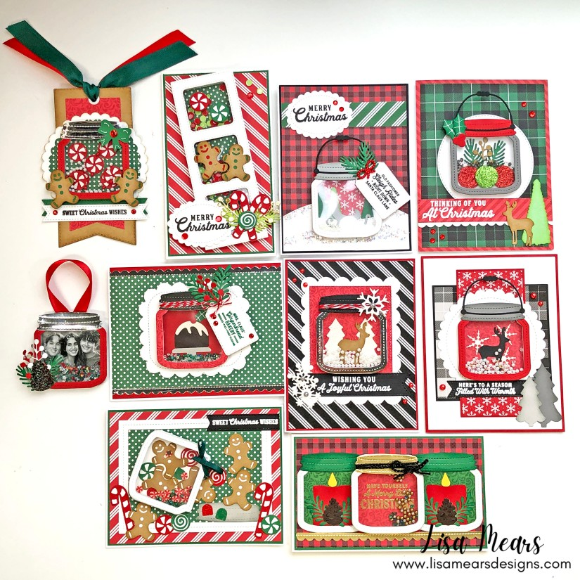 Queen and Company Holiday Jar Shaker Kit - 10 Cards 1 Kit - Christmas Cards