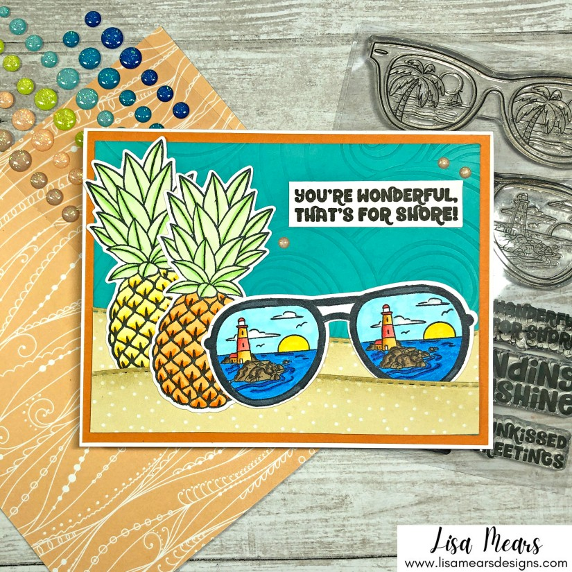 Sunkissed Stamp Set - Pink and Main - Card with sunglasses