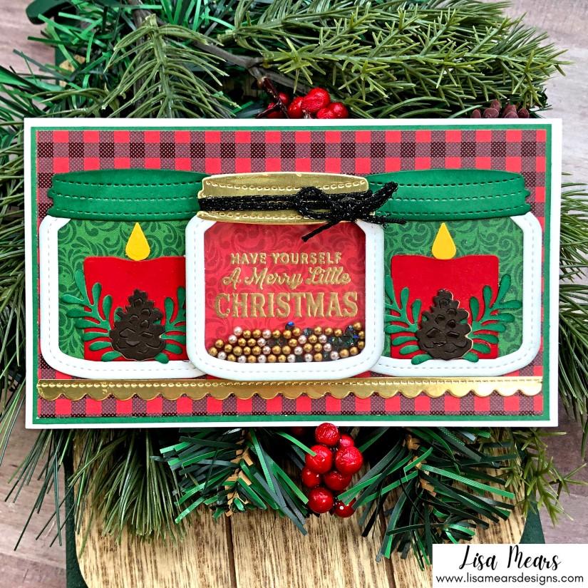 Queen & Co Holiday Jar Shaker Kit - 10 Cards 1 Kit - Christmas Mini Slimline Card