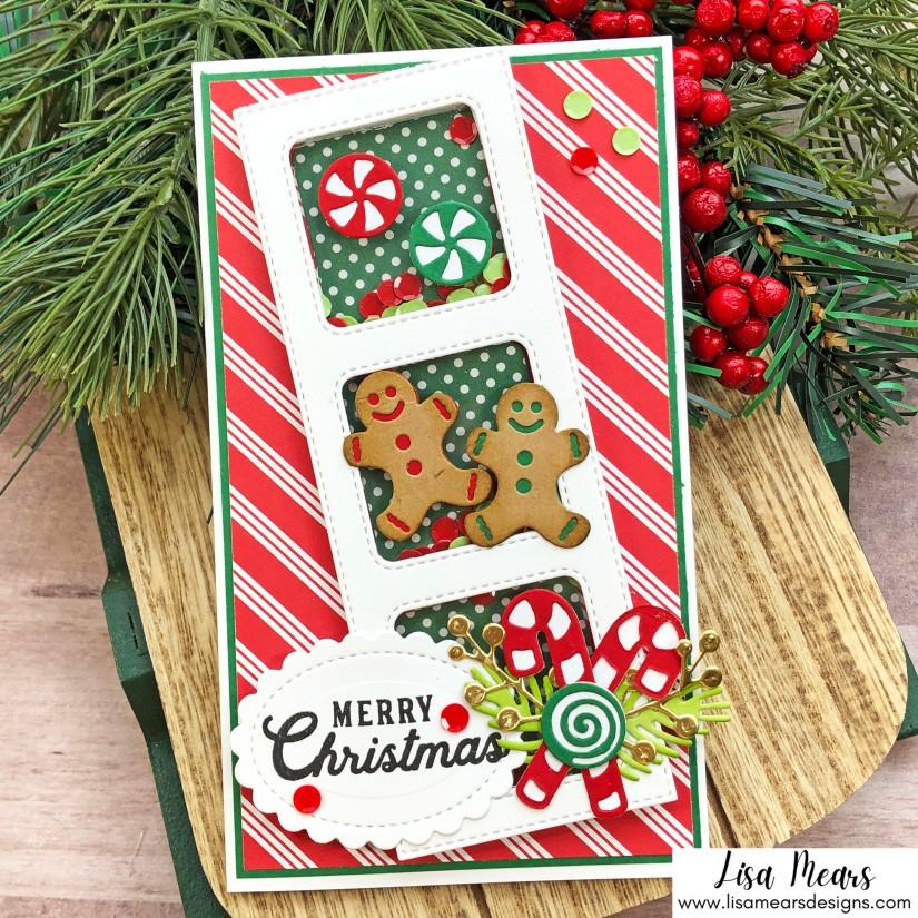 Queen & Co Holiday Jar Shaker Kit - 10 Cards 1 Kit - Christmas Mini Slimline Gingerbread Card