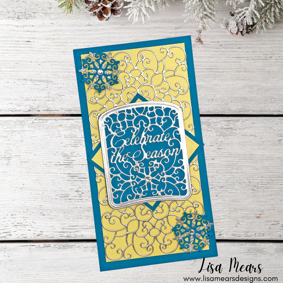 Spellbinders - Holiday Medley Collection by Becca Feeken - Celebrate Scrollwork Card Builder - Slimline Christmas Card