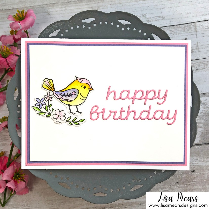 Spellbinders Stamp of Month September 2021 - Clean and Simple handmade card with bird
